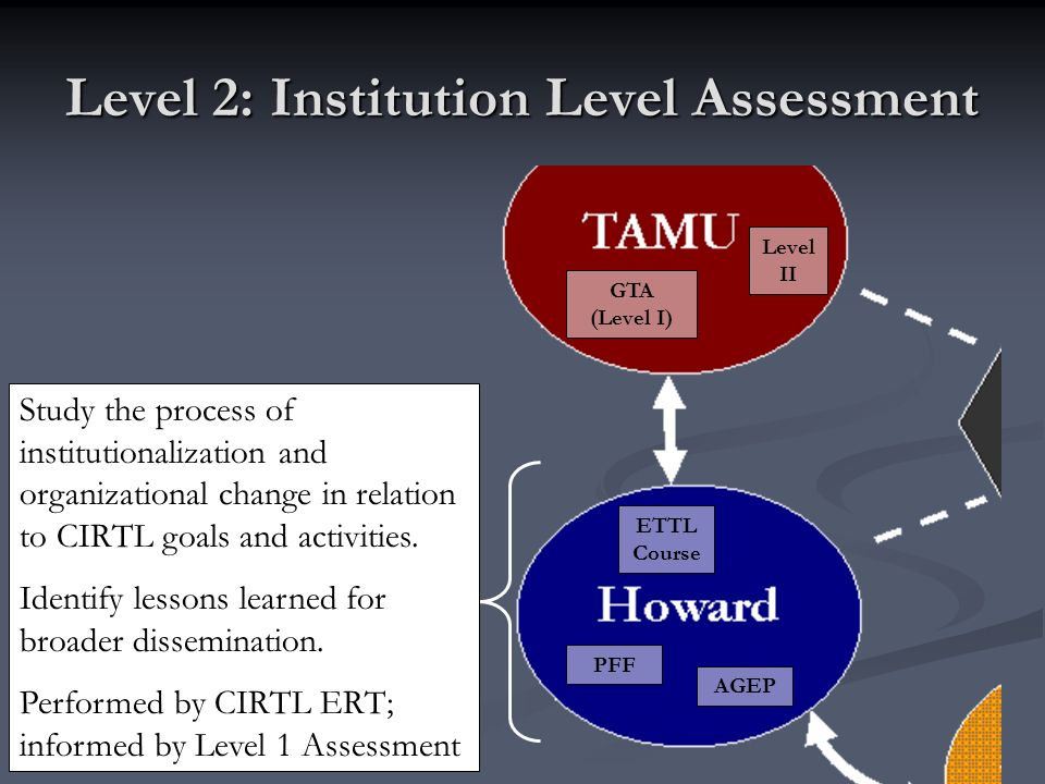 Level 2: Institution Level Assessment GTA (Level I) Level II PFF AGEP ETTL Course Study the process of institutionalization and organizational change in relation to CIRTL goals and activities.