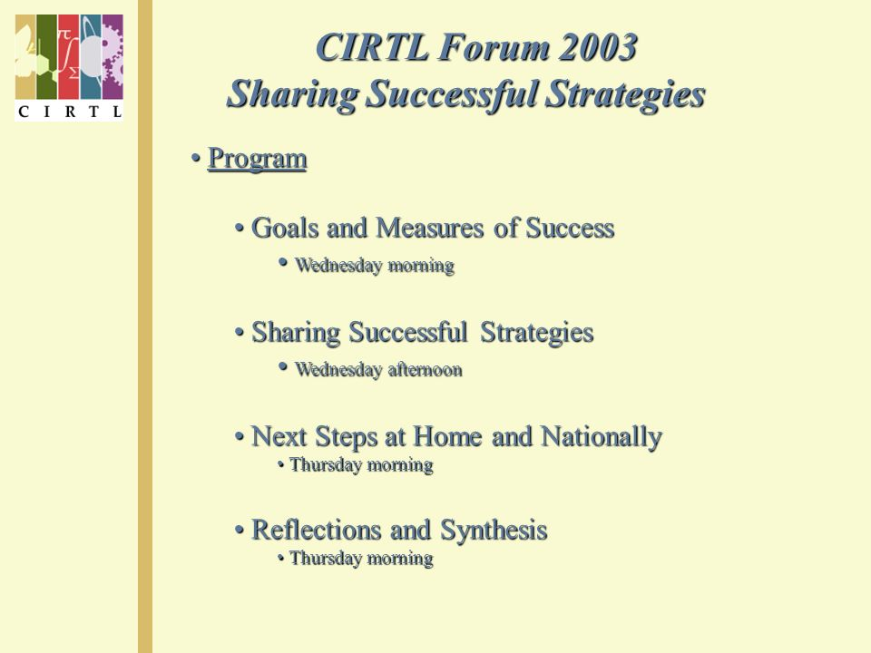 CIRTL Forum 2003 CIRTL Forum 2003 Sharing Successful Strategies Program Program Goals and Measures of Success Goals and Measures of Success Wednesday