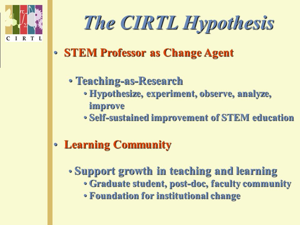 The CIRTL Hypothesis STEM Professor as Change Agent STEM Professor as Change Agent Teaching-as-Research Teaching-as-Research Hypothesize, experiment, observe, analyze, improveHypothesize, experiment, observe, analyze, improve Self-sustained improvement of STEM educationSelf-sustained improvement of STEM education Learning Community Learning Community Support growth in teaching and learning Support growth in teaching and learning Graduate student, post-doc, faculty communityGraduate student, post-doc, faculty community Foundation for institutional changeFoundation for institutional change