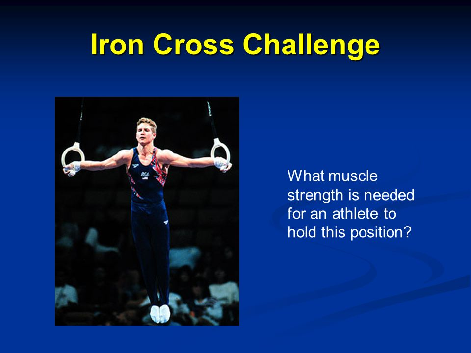 Iron Cross Challenge What muscle strength is needed for an athlete to hold this position?