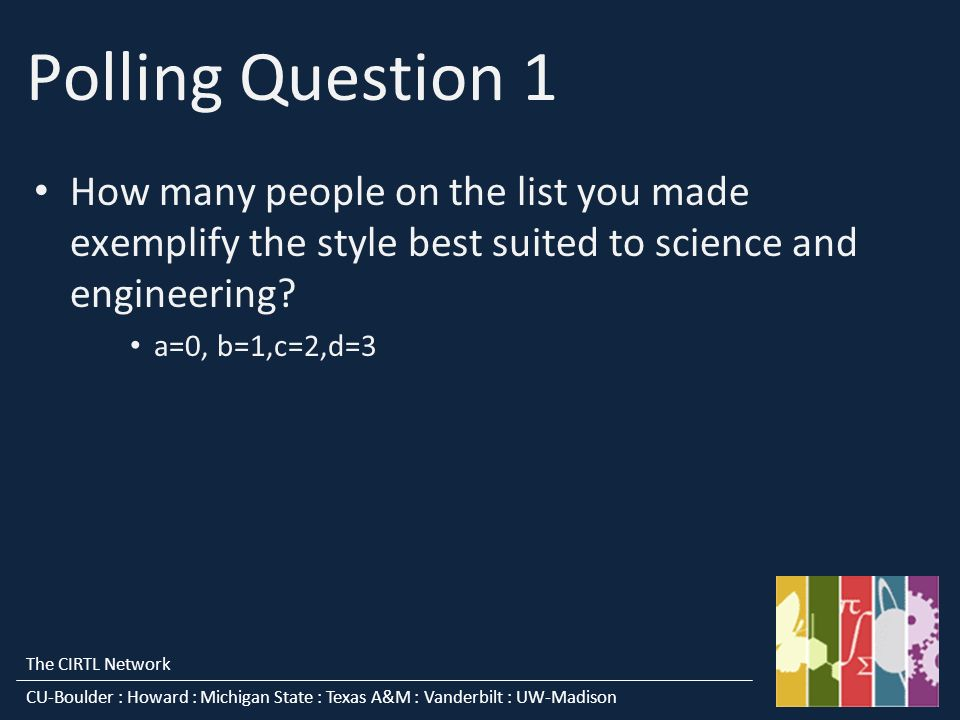 The CIRTL Network CU-Boulder : Howard : Michigan State : Texas A&M : Vanderbilt : UW-Madison Polling Question 1 How many people on the list you made exemplify the style best suited to science and engineering.