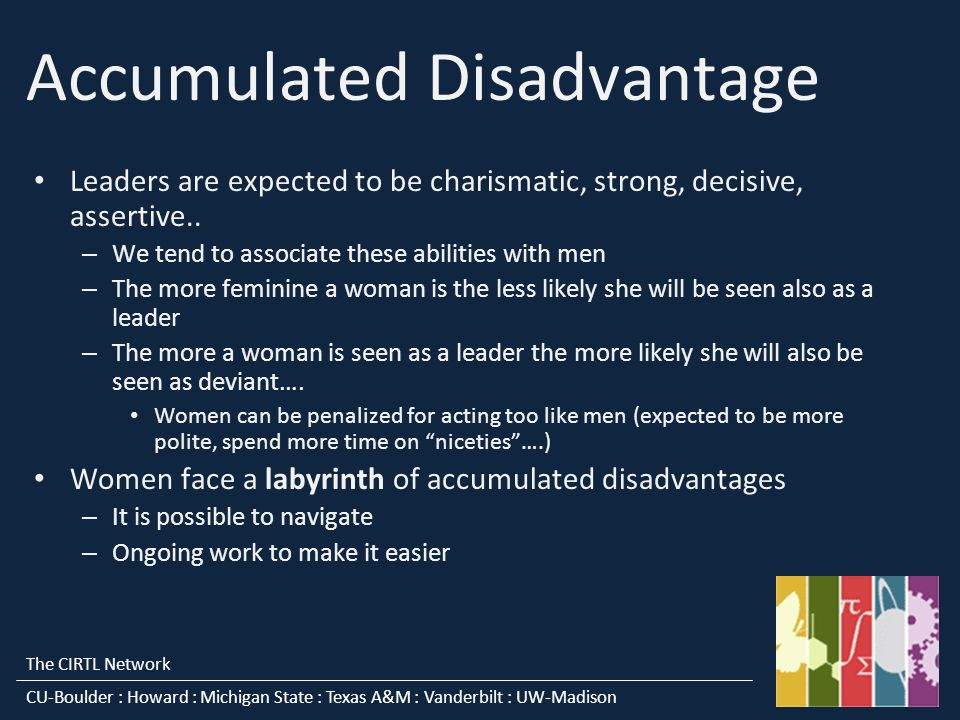 The CIRTL Network CU-Boulder : Howard : Michigan State : Texas A&M : Vanderbilt : UW-Madison Accumulated Disadvantage Leaders are expected to be charismatic, strong, decisive, assertive..