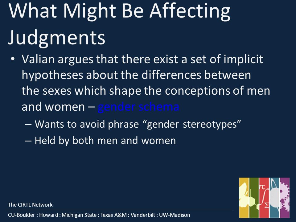 The CIRTL Network CU-Boulder : Howard : Michigan State : Texas A&M : Vanderbilt : UW-Madison What Might Be Affecting Judgments Valian argues that there exist a set of implicit hypotheses about the differences between the sexes which shape the conceptions of men and women – gender schema – Wants to avoid phrase gender stereotypes – Held by both men and women