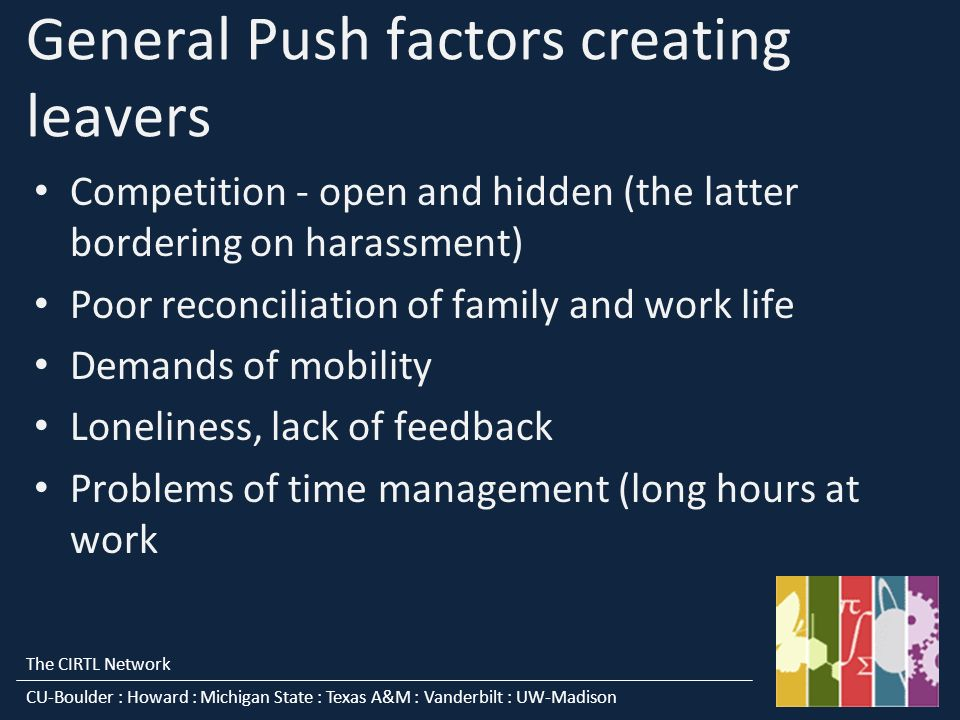 The CIRTL Network CU-Boulder : Howard : Michigan State : Texas A&M : Vanderbilt : UW-Madison General Push factors creating leavers Competition - open and hidden (the latter bordering on harassment) Poor reconciliation of family and work life Demands of mobility Loneliness, lack of feedback Problems of time management (long hours at work