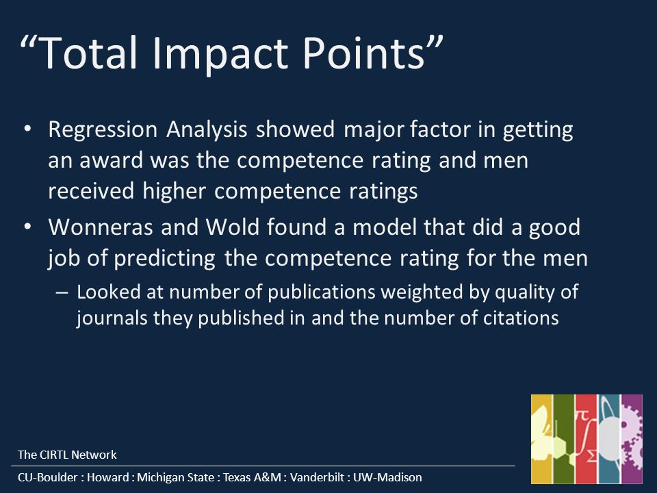 The CIRTL Network CU-Boulder : Howard : Michigan State : Texas A&M : Vanderbilt : UW-Madison Total Impact Points Regression Analysis showed major factor in getting an award was the competence rating and men received higher competence ratings Wonneras and Wold found a model that did a good job of predicting the competence rating for the men – Looked at number of publications weighted by quality of journals they published in and the number of citations