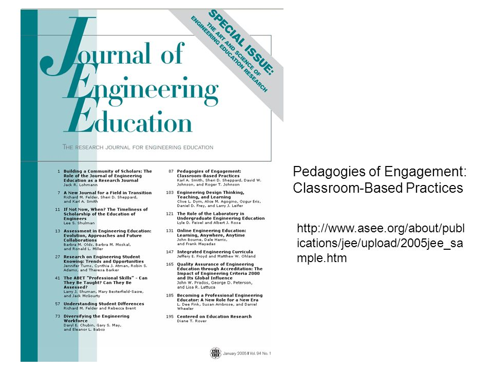 Pedagogies of Engagement: Classroom-Based Practices http://www.asee.org/about/publ ications/jee/upload/2005jee_sa mple.htm