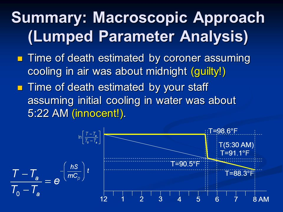 Summary: Macroscopic Approach (Lumped Parameter Analysis) Time of death estimated by coroner assuming cooling in air was about midnight (guilty!) Time of death estimated by coroner assuming cooling in air was about midnight (guilty!) Time of death estimated by your staff assuming initial cooling in water was about 5:22 AM (innocent!).