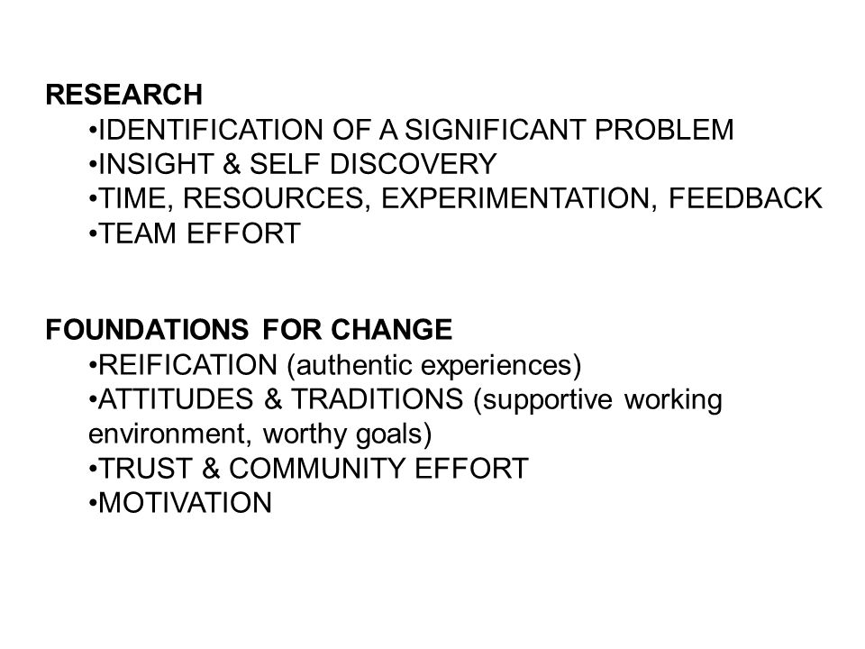 RESEARCH IDENTIFICATION OF A SIGNIFICANT PROBLEM INSIGHT & SELF DISCOVERY TIME, RESOURCES, EXPERIMENTATION, FEEDBACK TEAM EFFORT FOUNDATIONS FOR CHANG