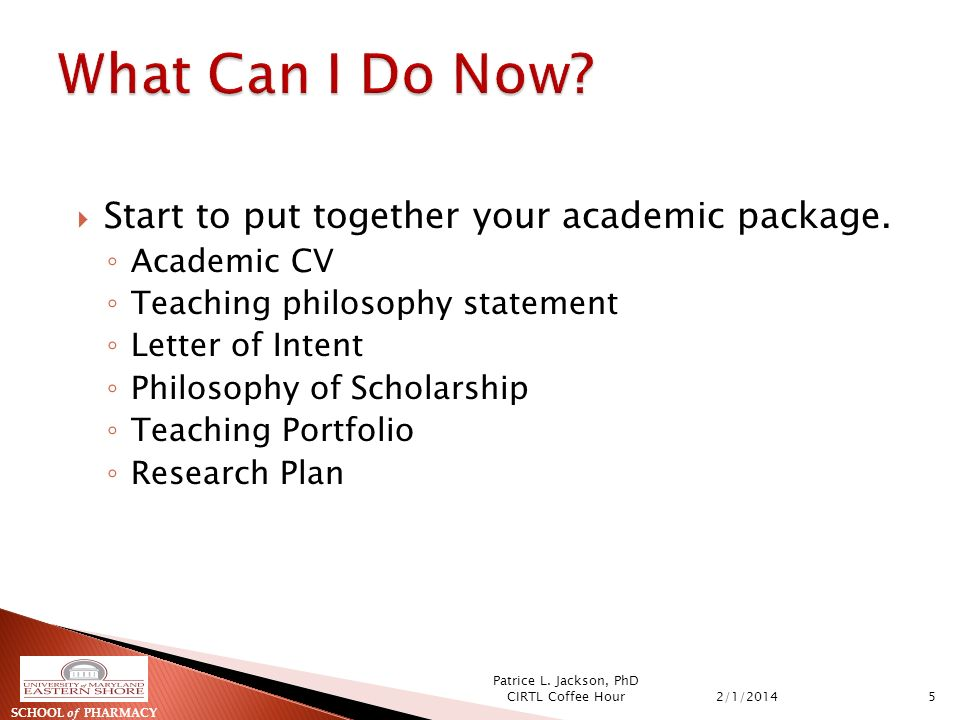 Start to put together your academic package.