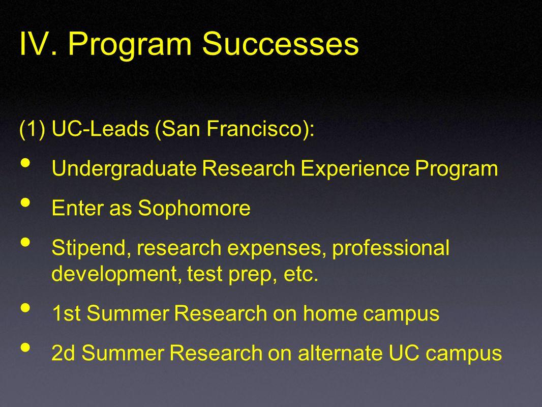 IV. Program Successes (1) UC-Leads (San Francisco): Undergraduate Research Experience Program Enter as Sophomore Stipend, research expenses, professio