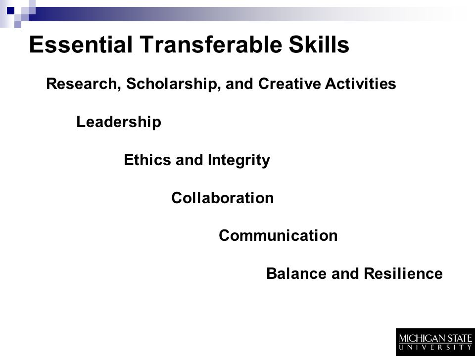 Essential Transferable Skills Research, Scholarship, and Creative Activities Leadership Ethics and Integrity Collaboration Communication Balance and Resilience