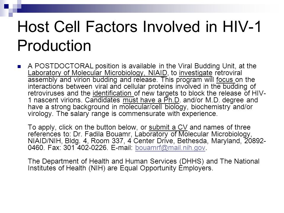 Host Cell Factors Involved in HIV-1 Production A POSTDOCTORAL position is available in the Viral Budding Unit, at the Laboratory of Molecular Microbiology, NIAID, to investigate retroviral assembly and virion budding and release.