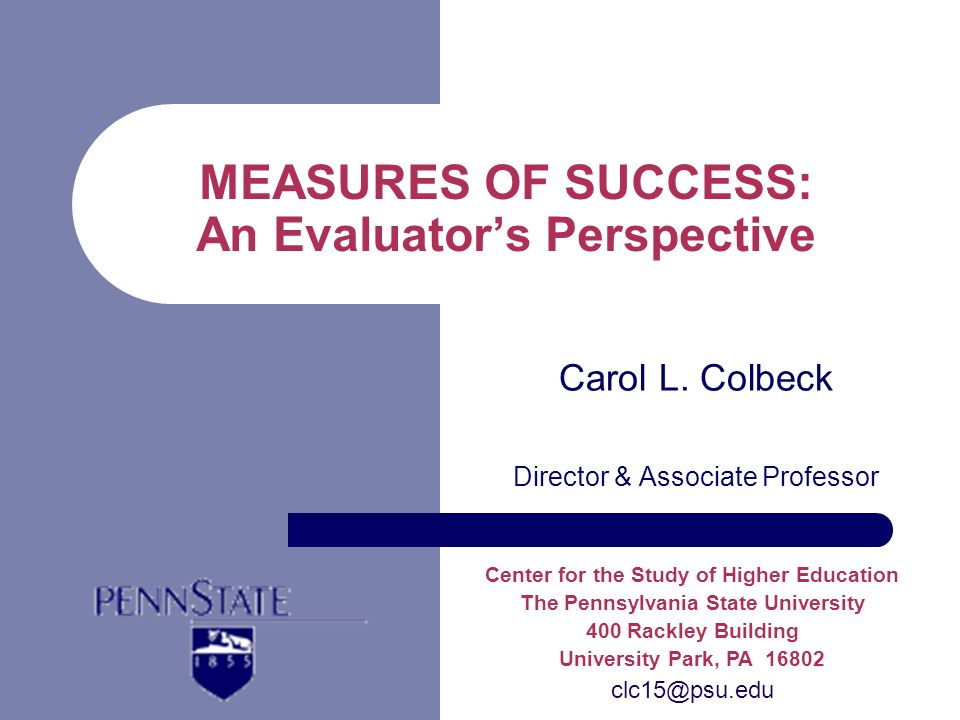 MEASURES OF SUCCESS: An Evaluators Perspective Carol L.