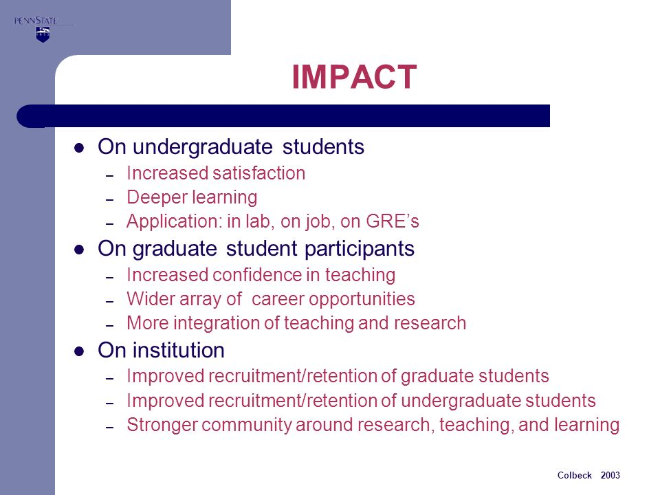 Colbeck 2003 IMPACT On undergraduate students – Increased satisfaction – Deeper learning – Application: in lab, on job, on GREs On graduate student participants – Increased confidence in teaching – Wider array of career opportunities – More integration of teaching and research On institution – Improved recruitment/retention of graduate students – Improved recruitment/retention of undergraduate students – Stronger community around research, teaching, and learning
