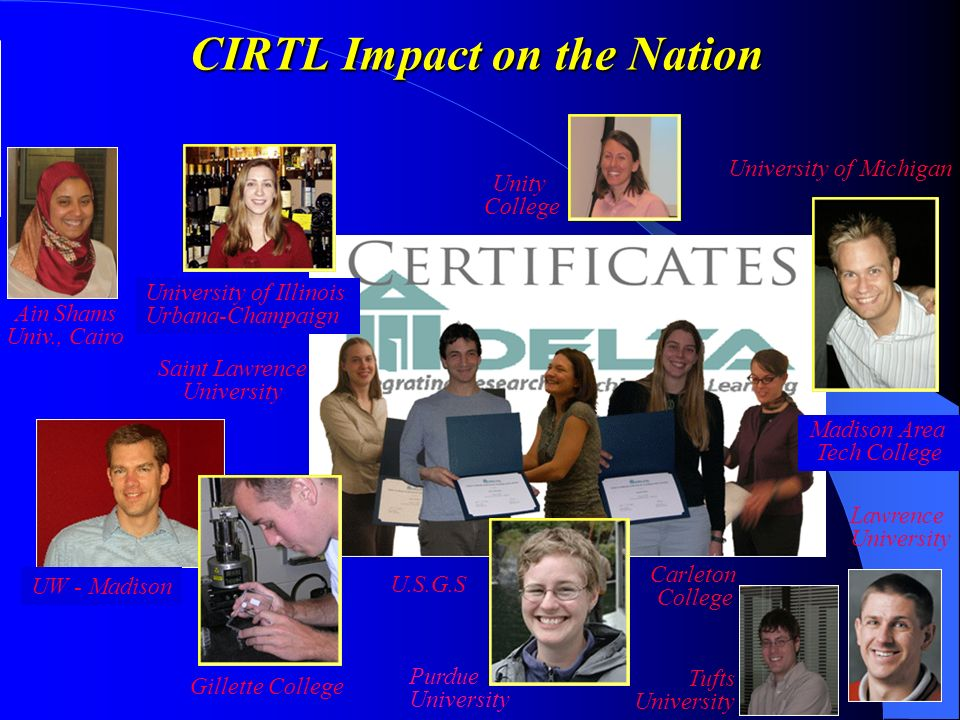 CIRTL Impact on the Nation University of Illinois Urbana-Champaign University of Michigan Carleton College Madison Area Tech College U.S.G.S Purdue University UW - Madison Gillette College Unity College Lawrence University Ain Shams Univ., Cairo Tufts University Saint Lawrence University
