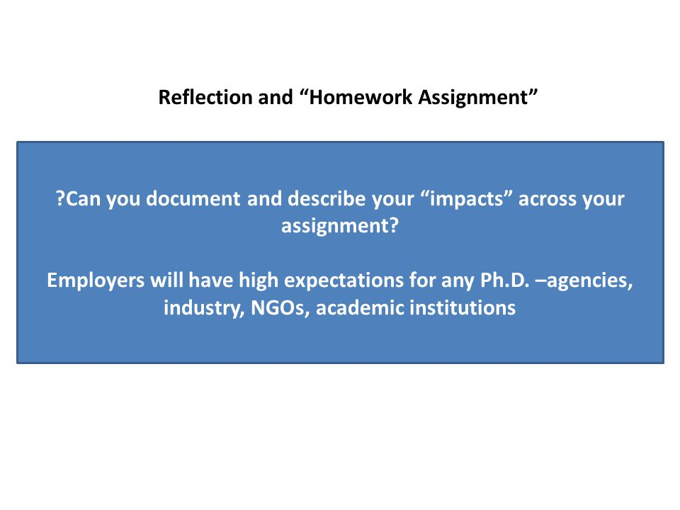 Can you document and describe your impacts across your assignment.