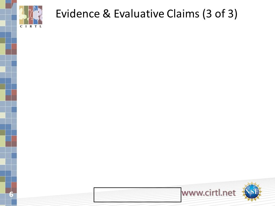 6 Evidence & Evaluative Claims (3 of 3)