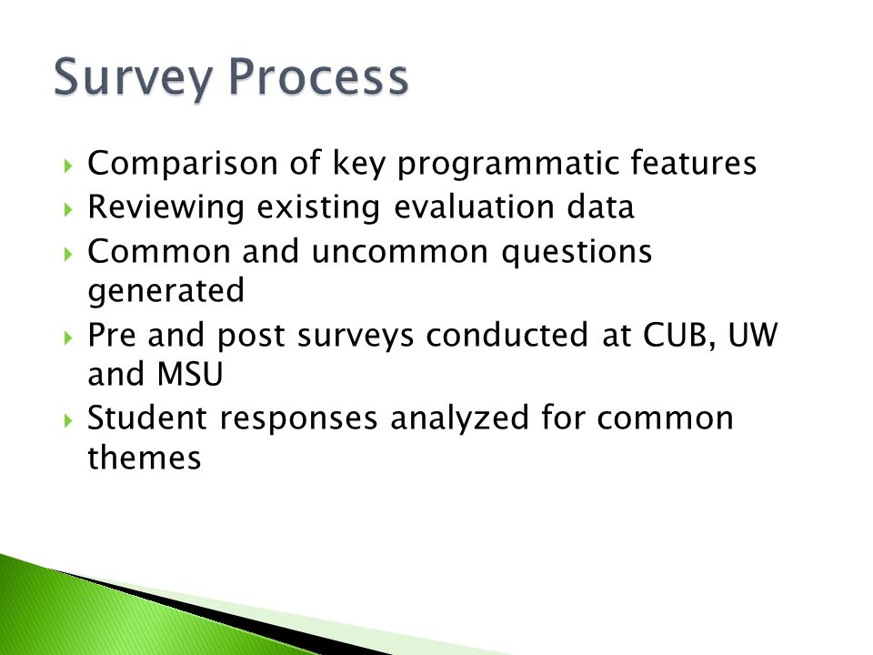 Comparison of key programmatic features Reviewing existing evaluation data Common and uncommon questions generated Pre and post surveys conducted at C