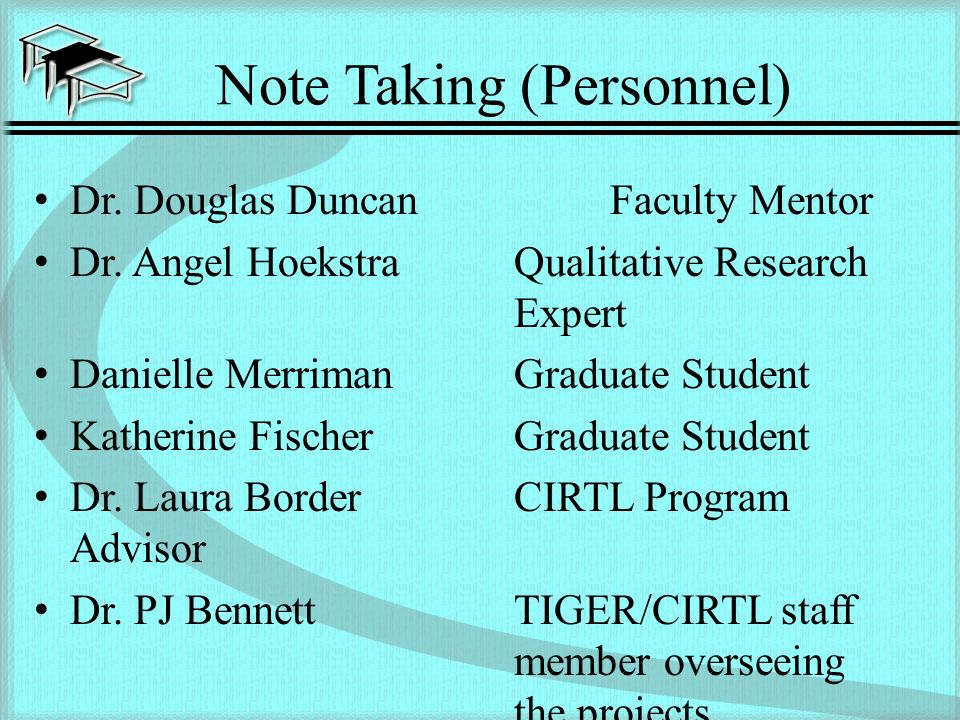 Note Taking (Personnel) Dr. Douglas DuncanFaculty Mentor Dr.