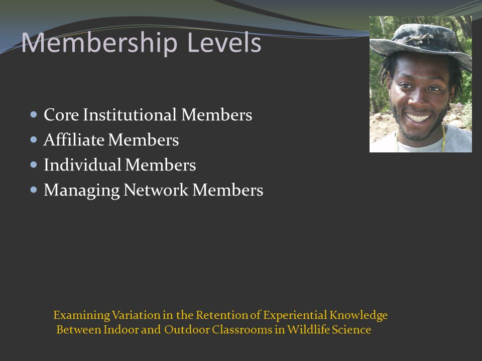 Membership Levels Core Institutional Members Affiliate Members Individual Members Managing Network Members Examining Variation in the Retention of Experiential Knowledge Between Indoor and Outdoor Classrooms in Wildlife Science