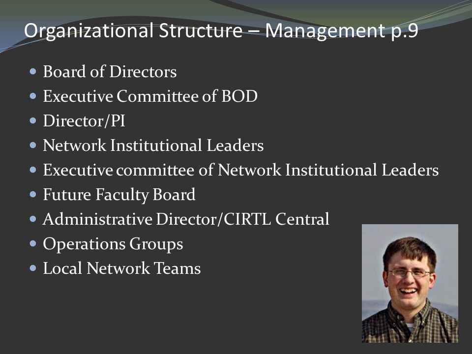 Organizational Structure – Management p.9 Board of Directors Executive Committee of BOD Director/PI Network Institutional Leaders Executive committee