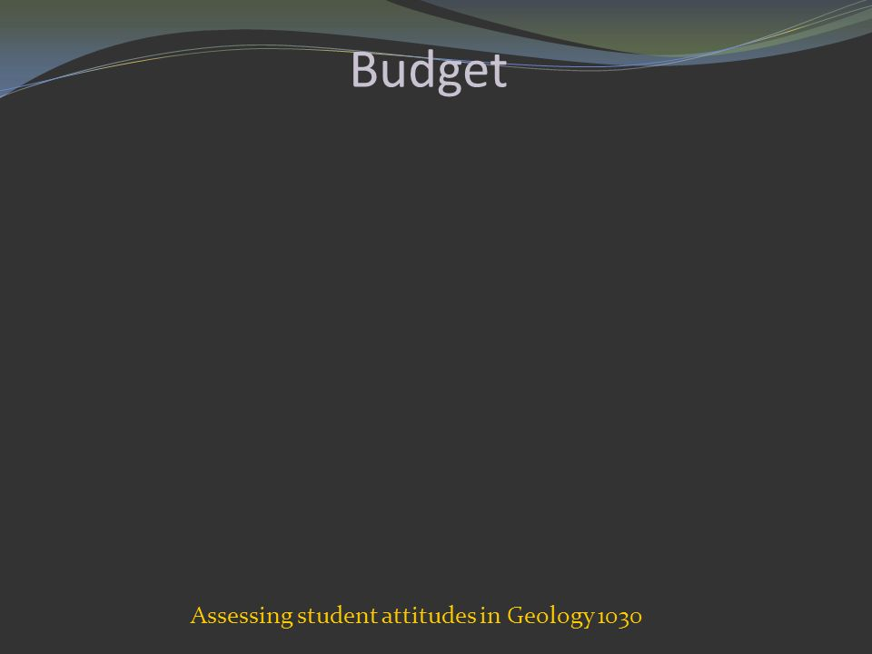 Budget Assessing student attitudes in Geology 1030