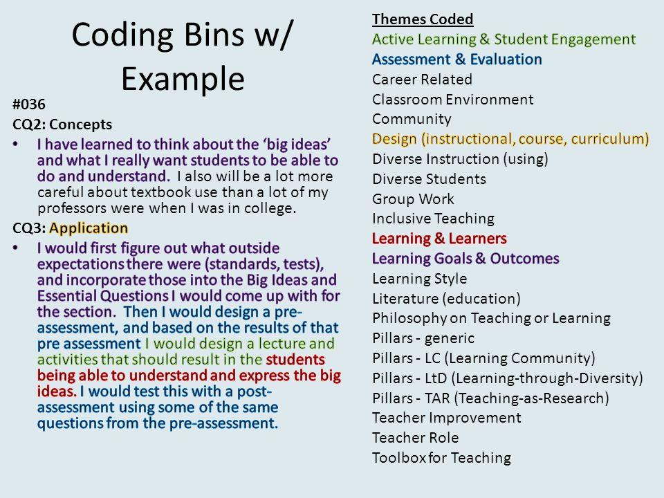 Coding Bins w/ Example