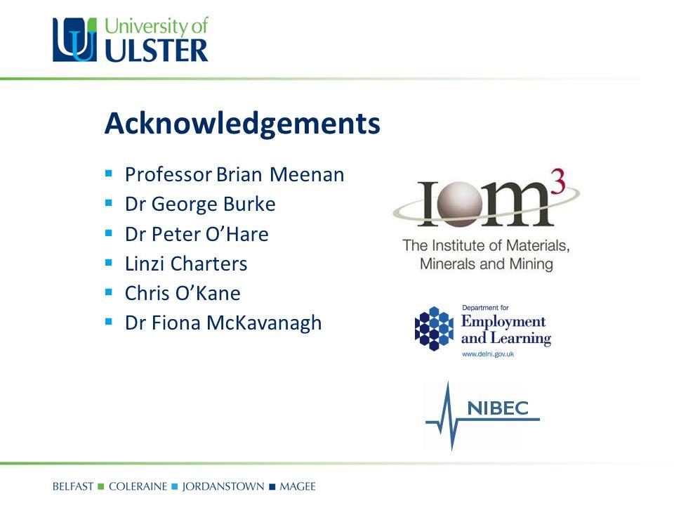 Acknowledgements Professor Brian Meenan Dr George Burke Dr Peter OHare Linzi Charters Chris OKane Dr Fiona McKavanagh