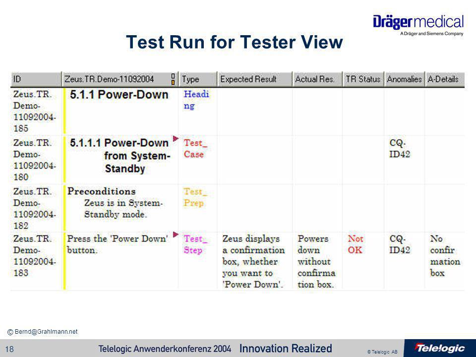 © Telelogic AB Bernd@Grahlmann.net © 18 Test Run for Tester View