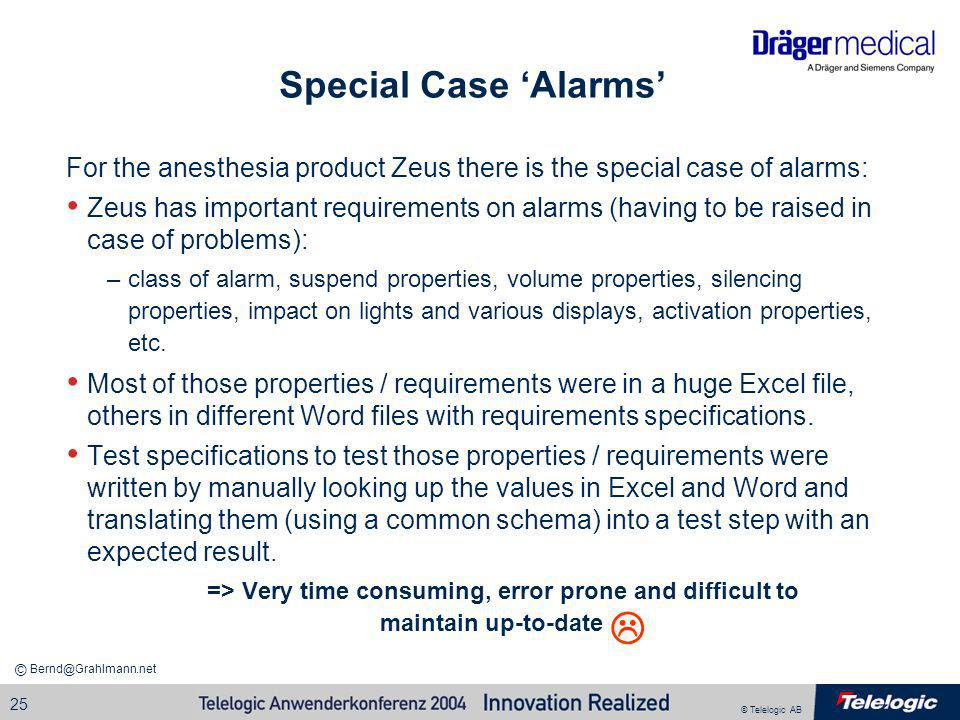 © Telelogic AB Bernd@Grahlmann.net © 25 Special Case Alarms For the anesthesia product Zeus there is the special case of alarms: Zeus has important re