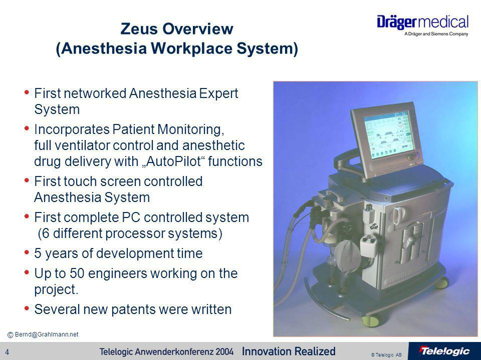 © Telelogic AB Bernd@Grahlmann.net © 4 Zeus Overview (Anesthesia Workplace System) First networked Anesthesia Expert System Incorporates Patient Monit