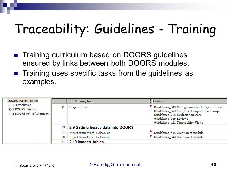 © Bernd@Grahlmann.net 10 Telelogic UGC2002 UK Traceability: Guidelines - Training Training curriculum based on DOORS guidelines ensured by links betwe