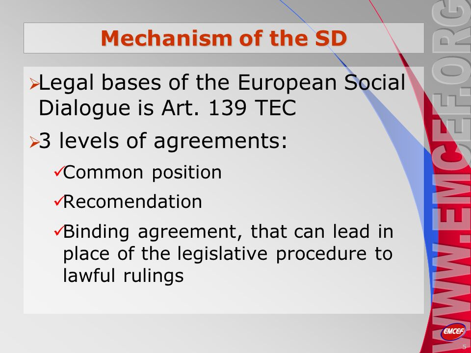 Mechanism of the SD Legal bases of the European Social Dialogue is Art.