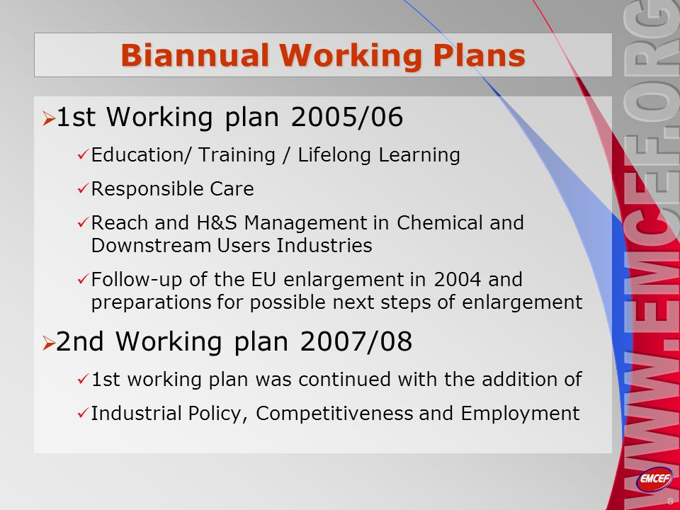Biannual Working Plans 1st Working plan 2005/06 Education/ Training / Lifelong Learning Responsible Care Reach and H&S Management in Chemical and Downstream Users Industries Follow-up of the EU enlargement in 2004 and preparations for possible next steps of enlargement 2nd Working plan 2007/08 1st working plan was continued with the addition of Industrial Policy, Competitiveness and Employment 8
