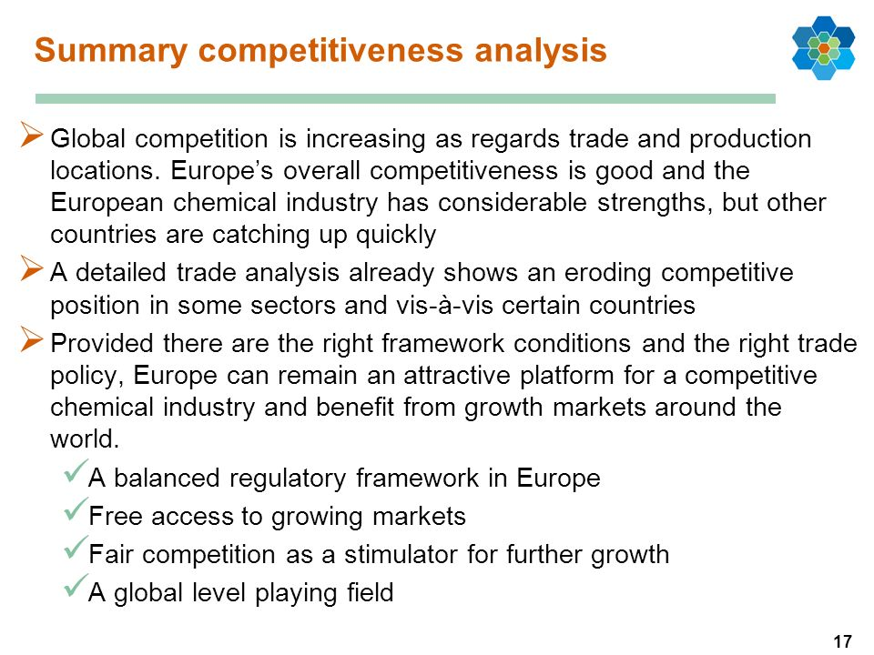 17 Summary competitiveness analysis Global competition is increasing as regards trade and production locations.
