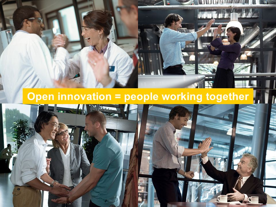 Open innovation = collaboration between people Open innovation = people working together
