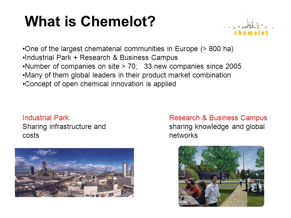 Research & Business Campus sharing knowledge and global networks Industrial Park Sharing infrastructure and costs One of the largest chematerial commu