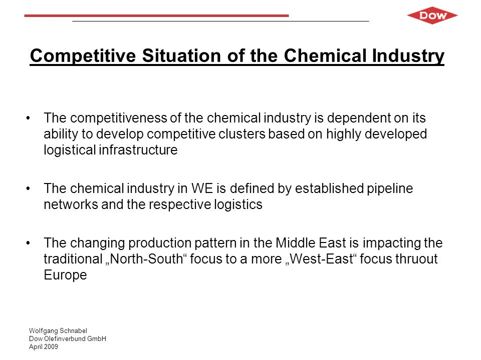 Wolfgang Schnabel Dow Olefinverbund GmbH April 2009 Competitive Situation of the Chemical Industry The competitiveness of the chemical industry is dep