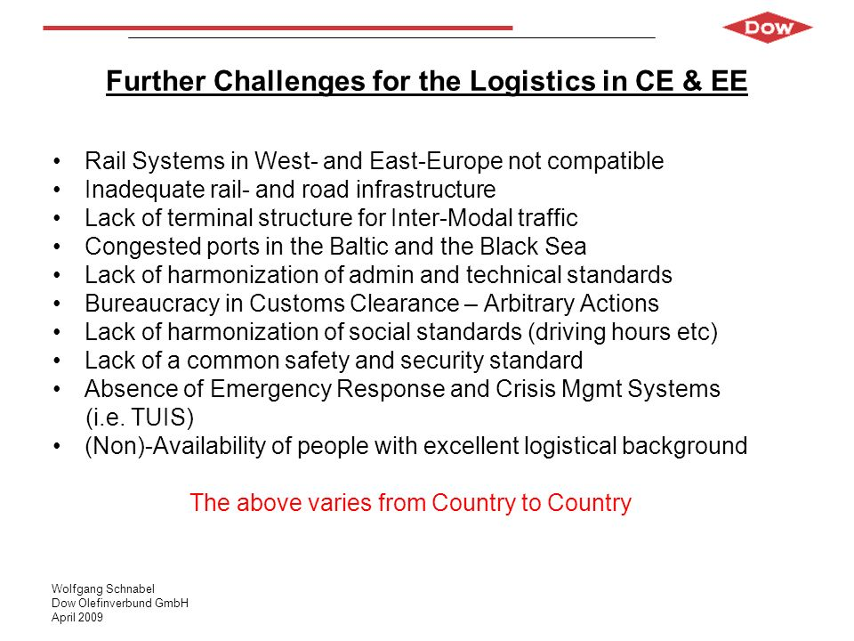 Wolfgang Schnabel Dow Olefinverbund GmbH April 2009 Further Challenges for the Logistics in CE & EE Rail Systems in West- and East-Europe not compatib