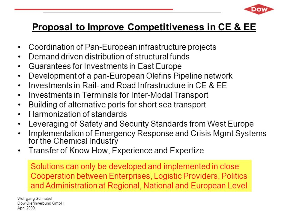 Wolfgang Schnabel Dow Olefinverbund GmbH April 2009 Proposal to Improve Competitiveness in CE & EE Coordination of Pan-European infrastructure project