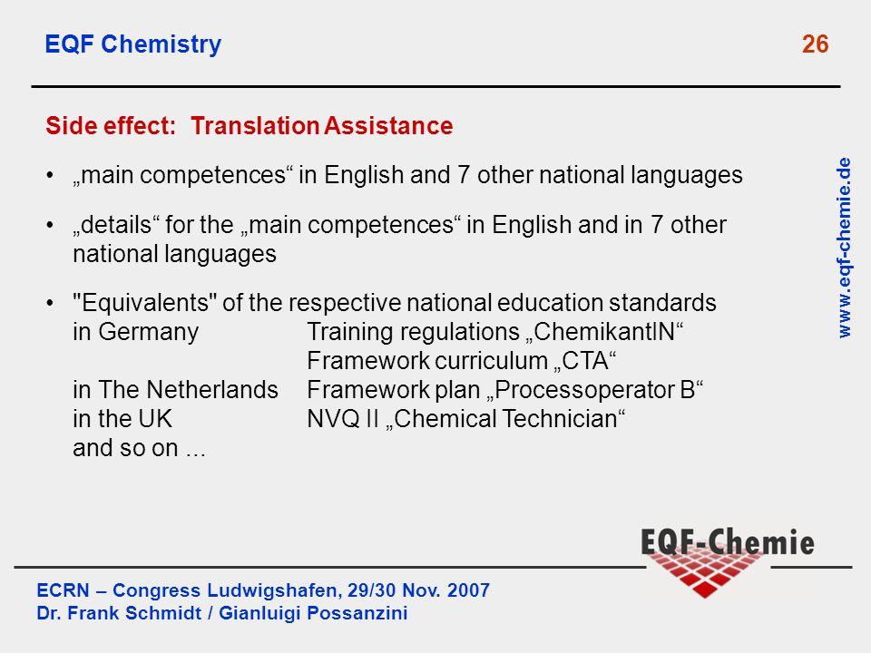 ECRN – Congress Ludwigshafen, 29/30 Nov. 2007 Dr. Frank Schmidt / Gianluigi Possanzini www.eqf-chemie.de EQF Chemistry 26 Side effect: Translation Ass