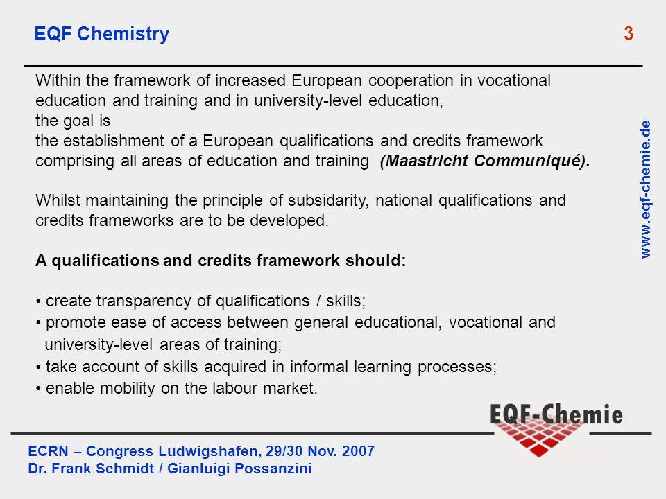 ECRN – Congress Ludwigshafen, 29/30 Nov. 2007 Dr. Frank Schmidt / Gianluigi Possanzini www.eqf-chemie.de EQF Chemistry 3 Within the framework of incre