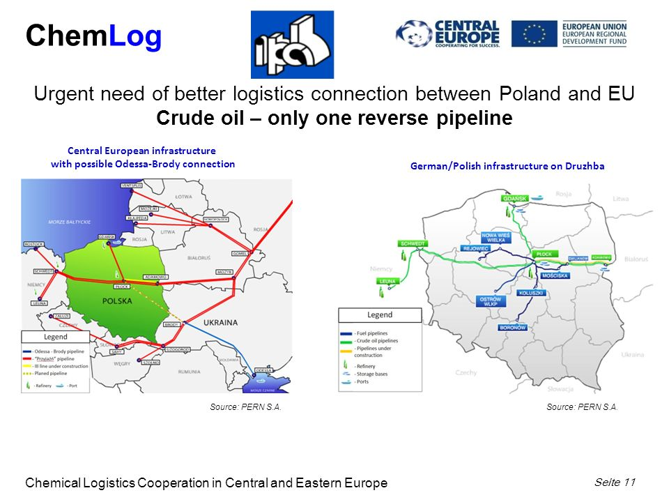 ChemLog Chemical Logistics Cooperation in Central and Eastern Europe Seite 11 Central European infrastructure with possible Odessa-Brody connection Urgent need of better logistics connection between Poland and EU Crude oil – only one reverse pipeline Source: PERN S.A.