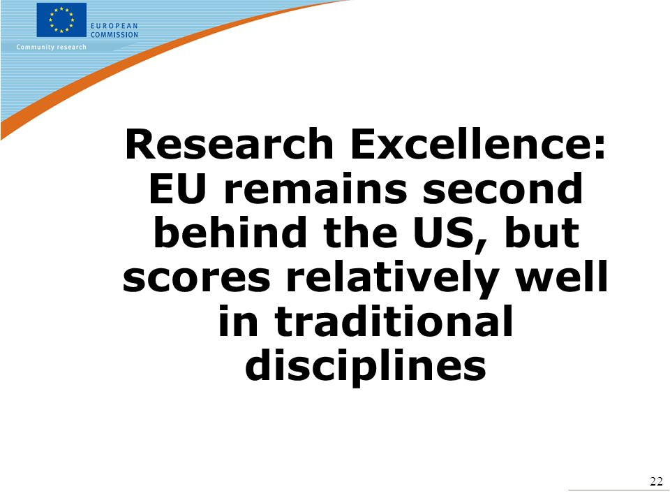 22 Research Excellence: EU remains second behind the US, but scores relatively well in traditional disciplines