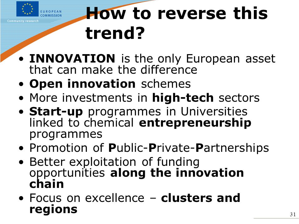 31 How to reverse this trend? INNOVATION is the only European asset that can make the difference Open innovation schemes More investments in high-tech