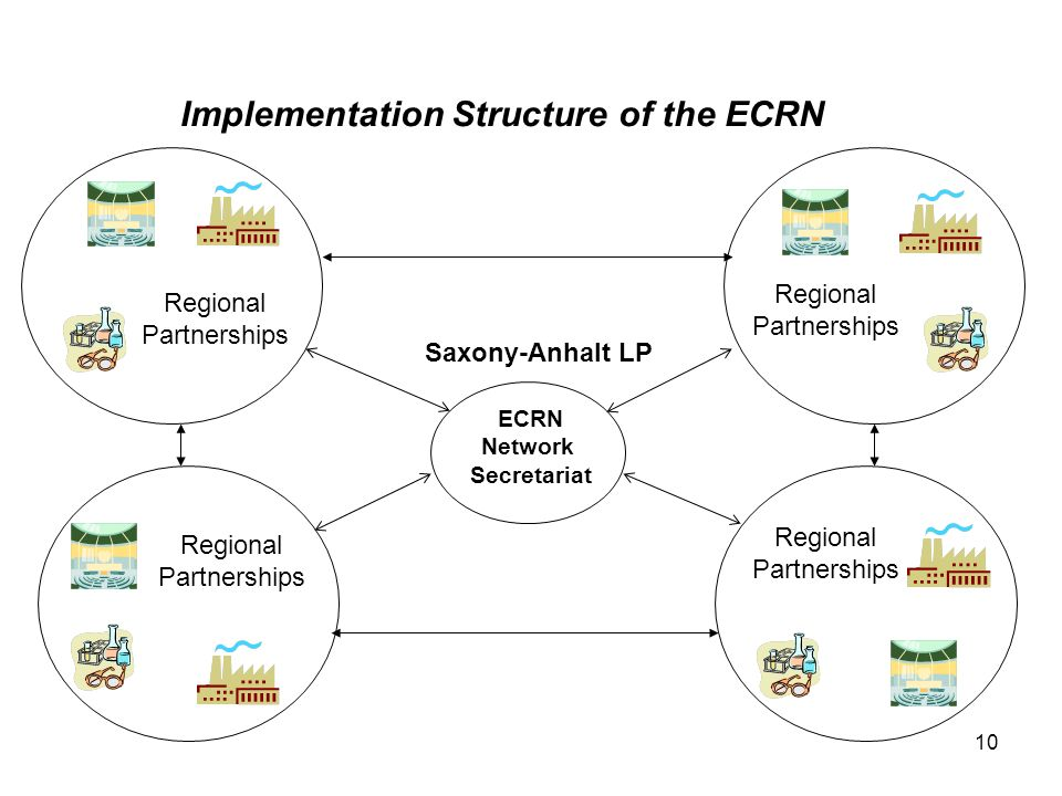 10 ECRN Network Secretariat Regional Partnerships Implementation Structure of the ECRN Regional Partnerships Regional Partnerships Regional Partnerships Saxony-Anhalt LP