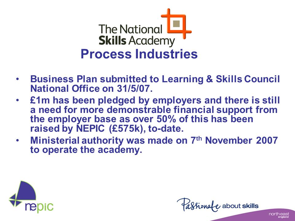 Business Plan submitted to Learning & Skills Council National Office on 31/5/07. £1m has been pledged by employers and there is still a need for more