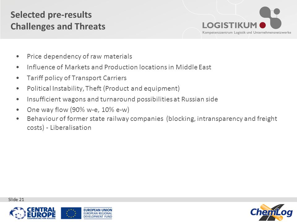 Slide 21 Price dependency of raw materials Influence of Markets and Production locations in Middle East Tariff policy of Transport Carriers Political
