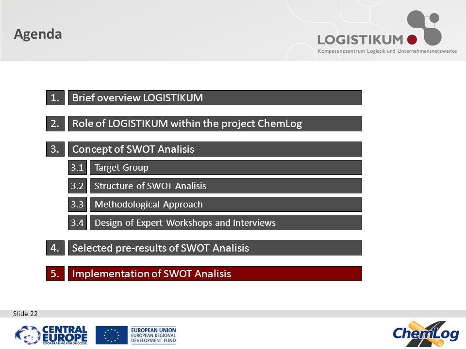 Slide 22 Agenda 1.Brief overview LOGISTIKUM 2.Role of LOGISTIKUM within the project ChemLog 3.Concept of SWOT Analisis 3.1Target Group 3.2Structure of