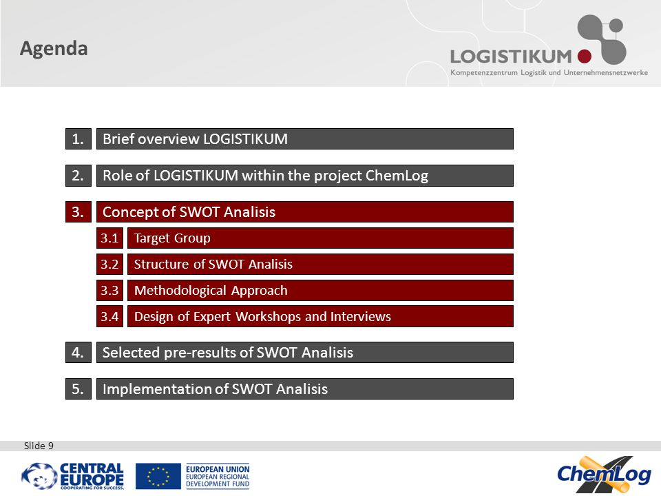 Slide 9 Agenda 1.Brief overview LOGISTIKUM 2.Role of LOGISTIKUM within the project ChemLog 3.Concept of SWOT Analisis 3.1Target Group 3.2Structure of